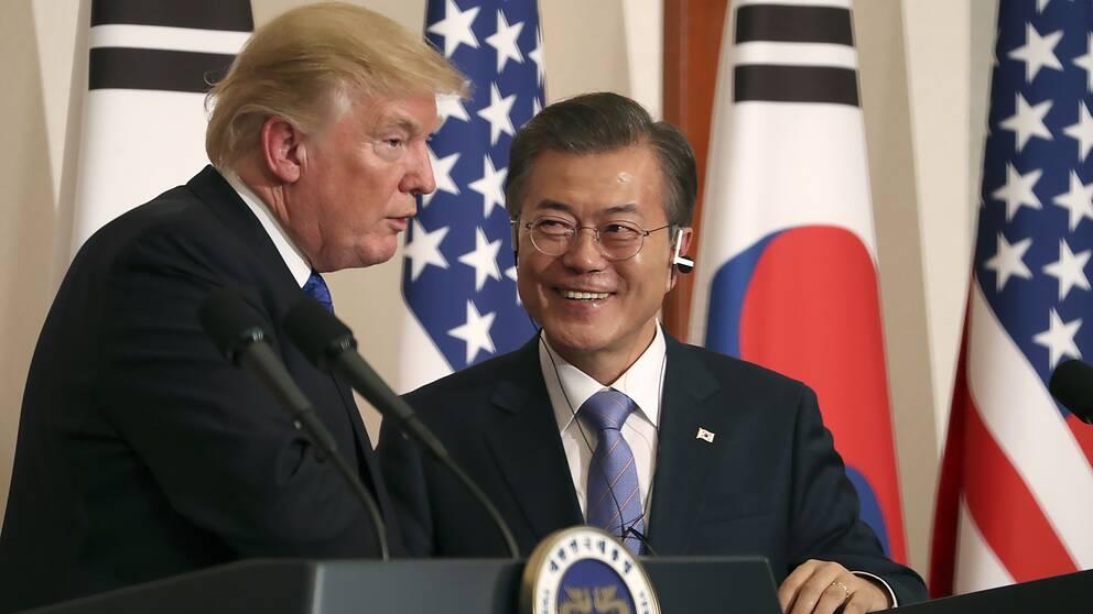 USA:s president Donald Trump och Sydkoreas president Moon Jae-In på en pressträff i Seoul i november 2017.