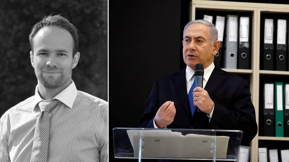 Statsvetare Anders Persson och Israels premiärminister Benjamin Netanyahu.