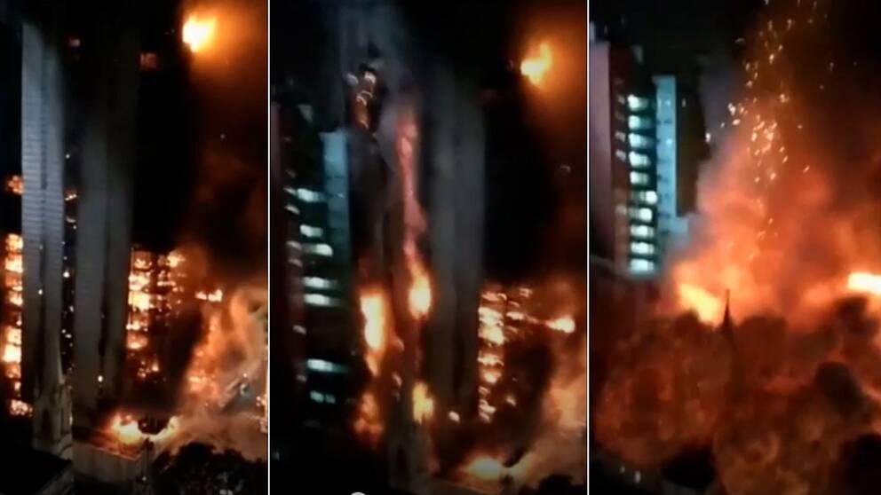 Den 26 våningar höga byggnaden i São Paulo kollapsar i branden