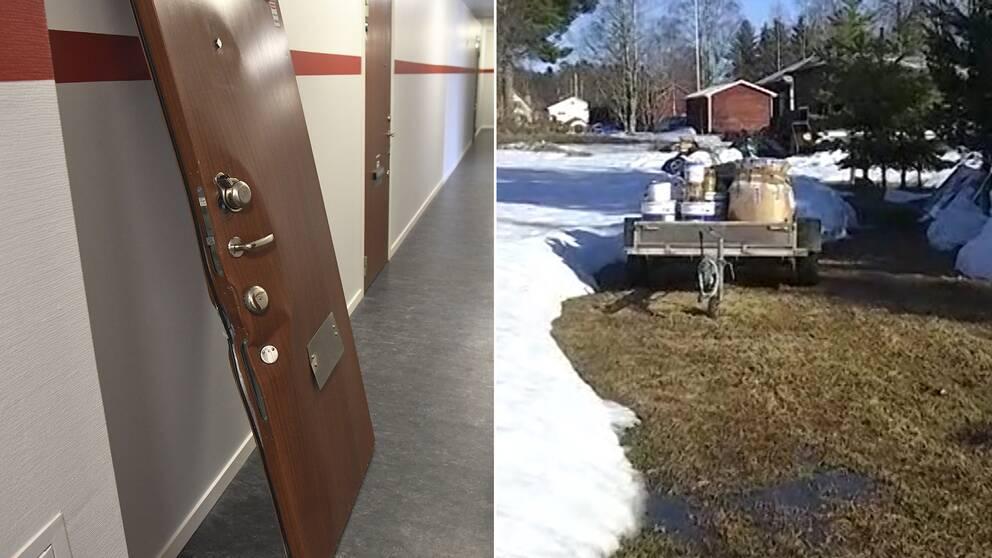 En bild på en dörr i Akalla där polisen gjorde ett tillslag i måndags, även en bild från Strömsund i Jämtland där ytterligare ett tillslag gjordes, enligt uppgifter till SVT.