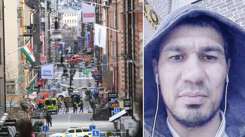Drottninggatan den 7 april förra året, till höger den misstänkte gärningsmannen Rakhmat Akilov