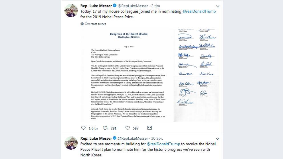 Den republikanske kongressledamoten Luke Messer på Twitter om nomineringen av Trump.