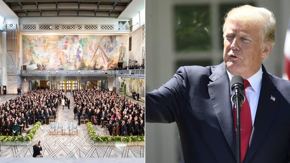 Nobels fredsprisutdelning i december 2017 i Oslos rådhus. USA:s president Donald Trump är nominerad till fredspriset 2019.