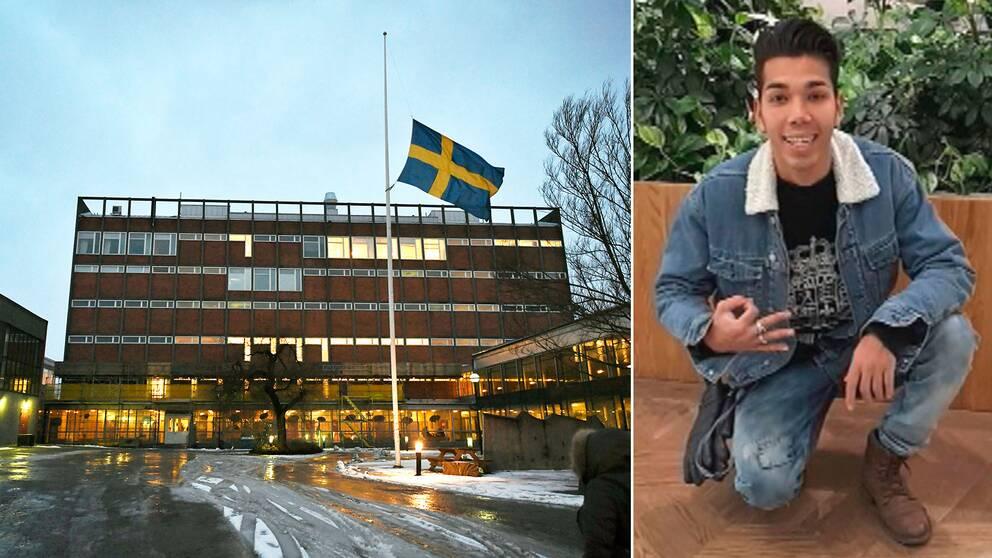 Svensk flagga på halv stång utanför Enskede gårds gymnasium och Mahmoud Alizade