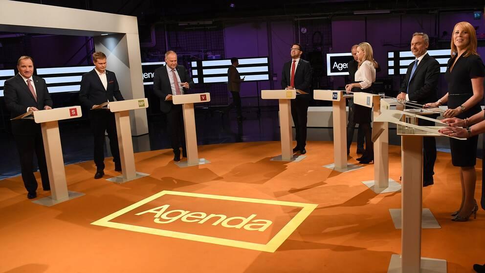 Stefan Löfven (S), Gustav Fridolin (MP), Jonas Sjöstedt (V), Jimmie Åkesson (SD), Ebba Busch Thor (KD), Jan Björklund (L) och Annie Lööf (C) under höstens partiledardebatt.