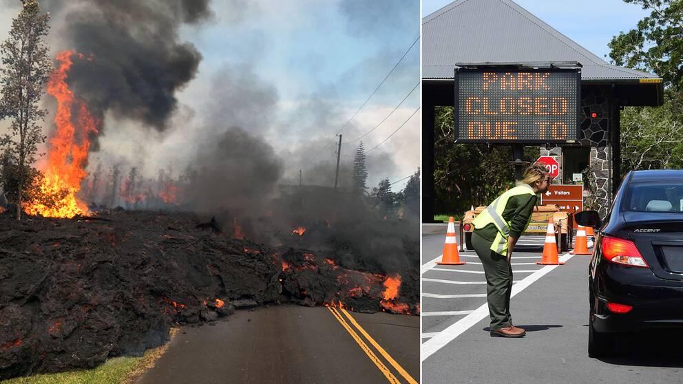 Parkvaktare på Hawaiis nationalpark ber människor att vända vid ingången. Från fredagen har en mängd skalv inträffat, det starkaste med magnituden 6,9.