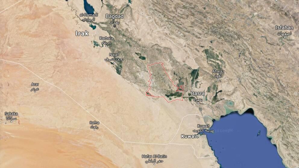 Karta över Dhi Qar-regionen i södra Irak där Abu Tbeirah ligger.