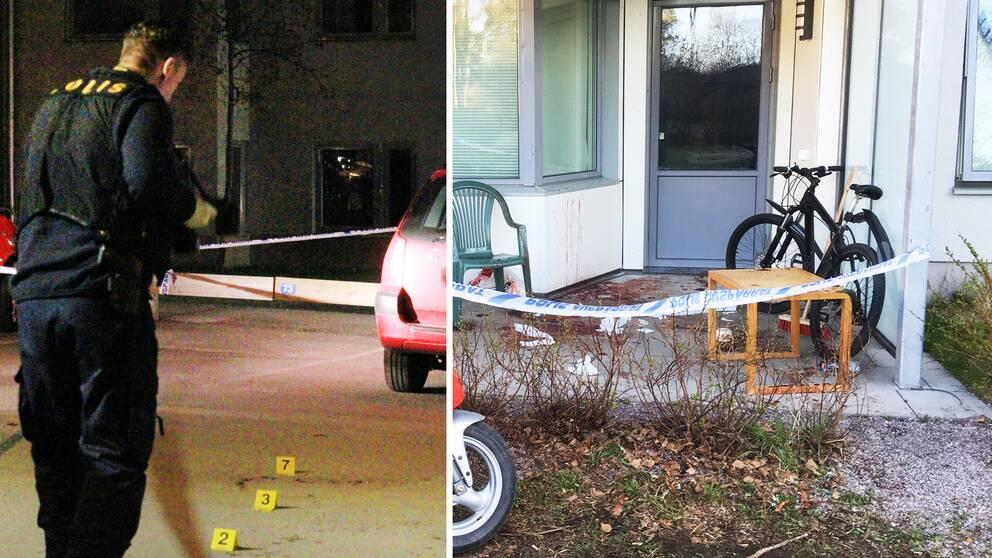 Polistekniker och bild på avspärrad uteplats med blodpöl vid stol.