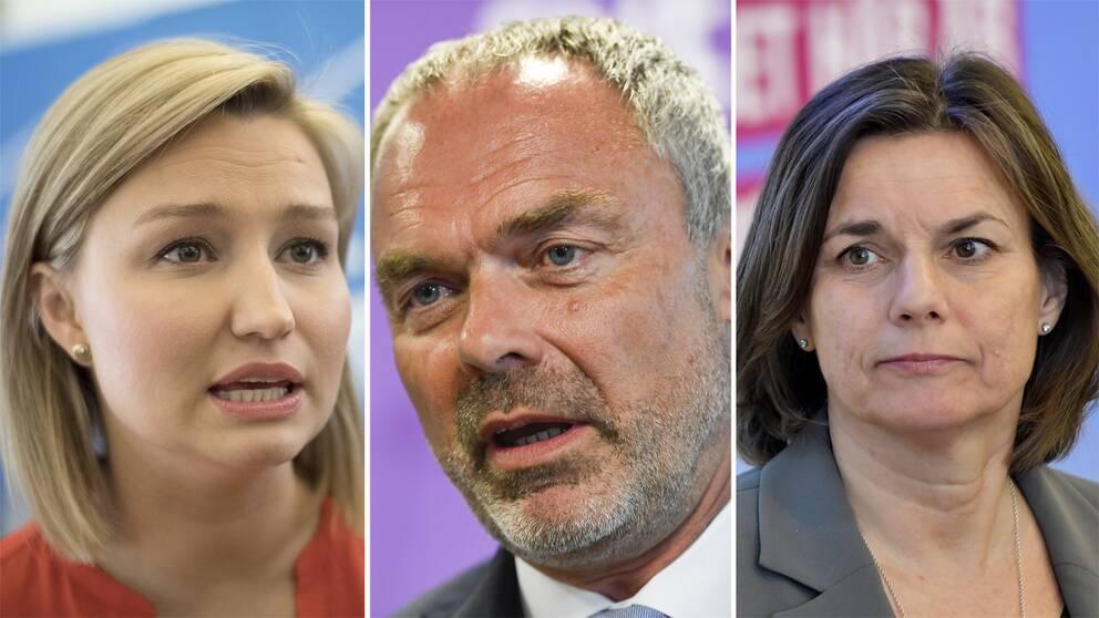 Ebba Busch Thor (KD), Jan Björklund (L), Isabella Lövin (MP).