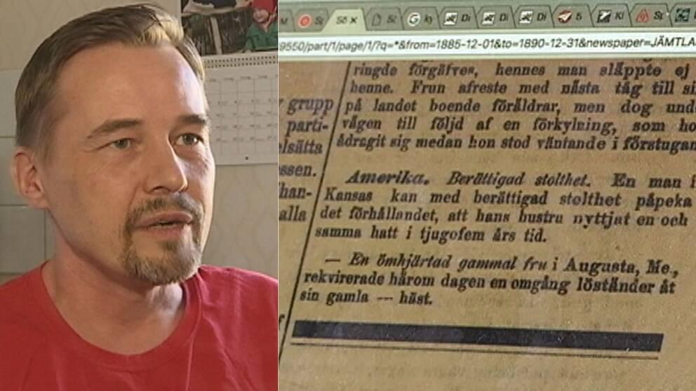 porträtt av en man, och närbild på skärm som visar gammal tidningsnotis