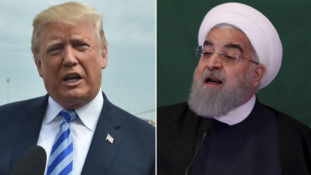 USA:s president Donald Trump och Irans president Hassan Rouhani.