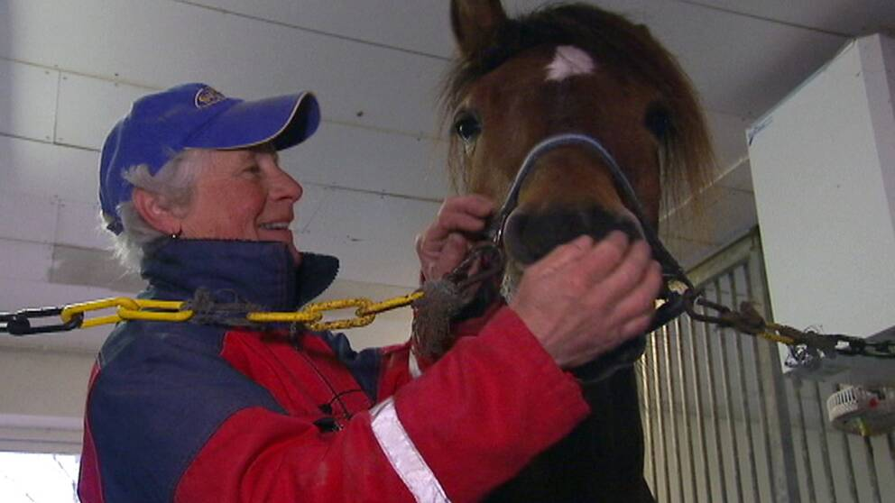 Hästuppfödaren Kristina Larsson med en häst