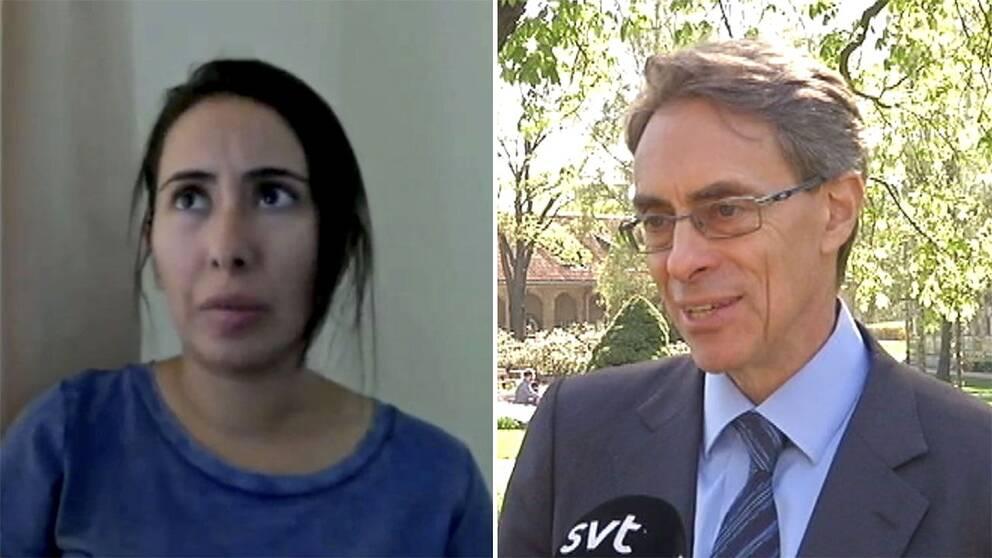 Prinsessan Latifa al MAktoum och Human Rights Watchs vd Kenneth Roth.