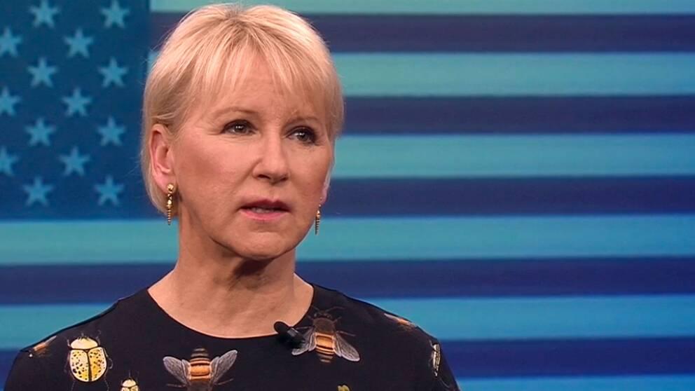 Utrikesminister Margot Wallström (S) i kvällens aktuellt.