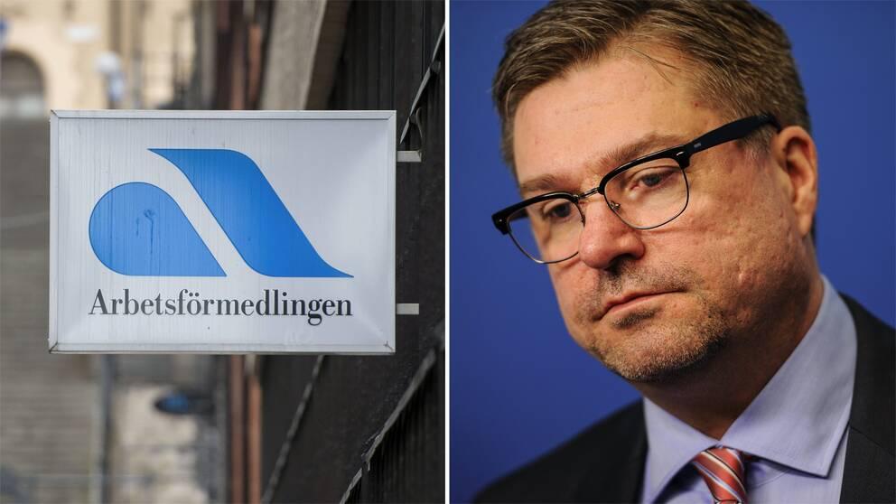 Skylt på Arbetsförmedlingen och bild på generaldirektör Mikael Sjöberg.