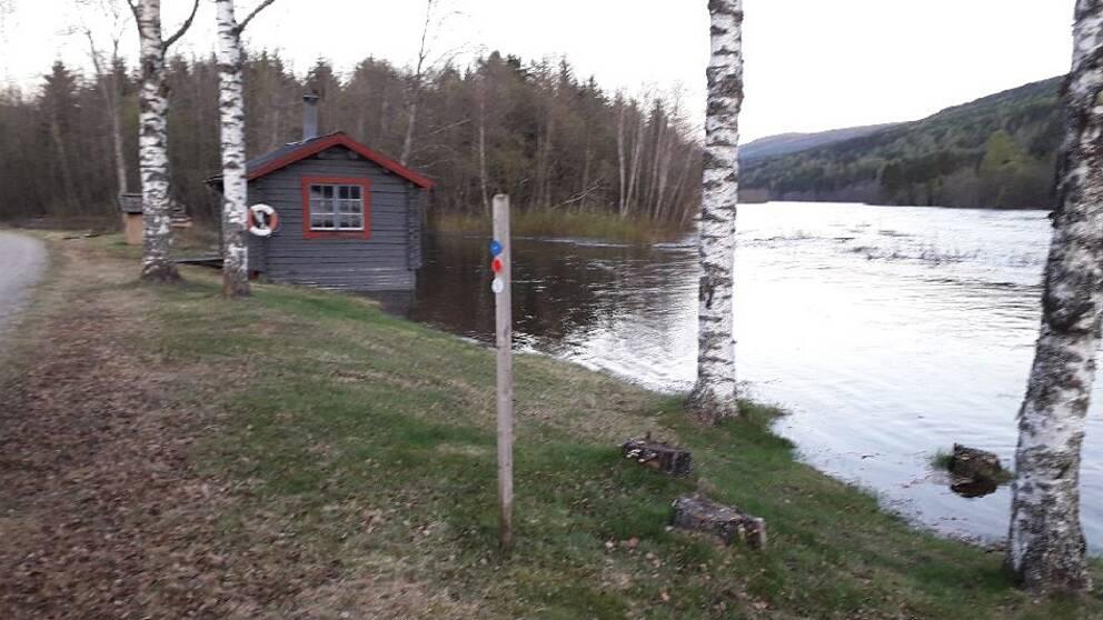 Översvämning vid Sysslebäcks camping.