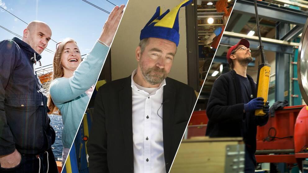 Turister, reporter i lustig hatt och industriarbetare.