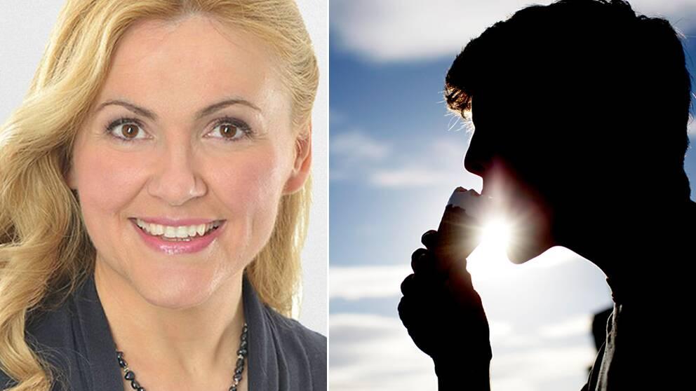 Kollage. Porträtt på Deana Bajic/Siluett av person som äter glass i solen