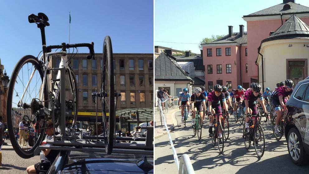 cykel på tak cyklister på gata