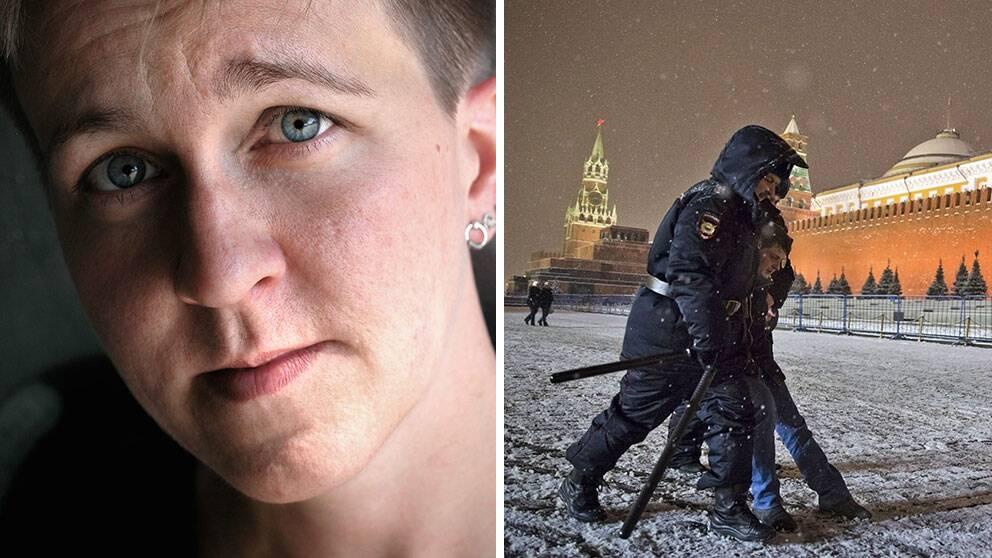 RFSL:s ordförande Ulrika Westerlund greps med ett tiotal andra hbtq-aktivister på Röda Torget i Moskva.