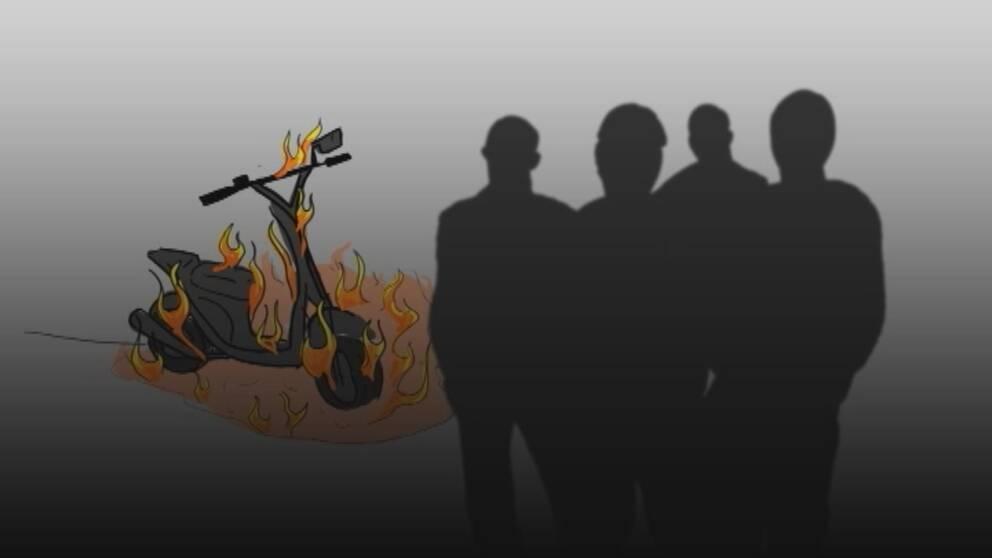 Ungdomsgäng och brinnande moped.