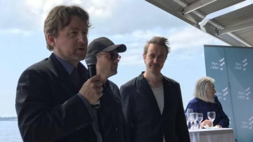 Regissören Mikael Håfström, skådespelarna David Dencik och Jonas Karlsson.