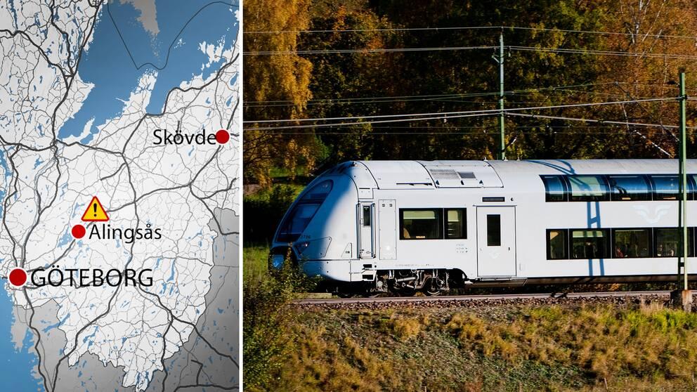 Elfelet uppstod på västra stambanan, mellan Alingsås och Vårgårda.