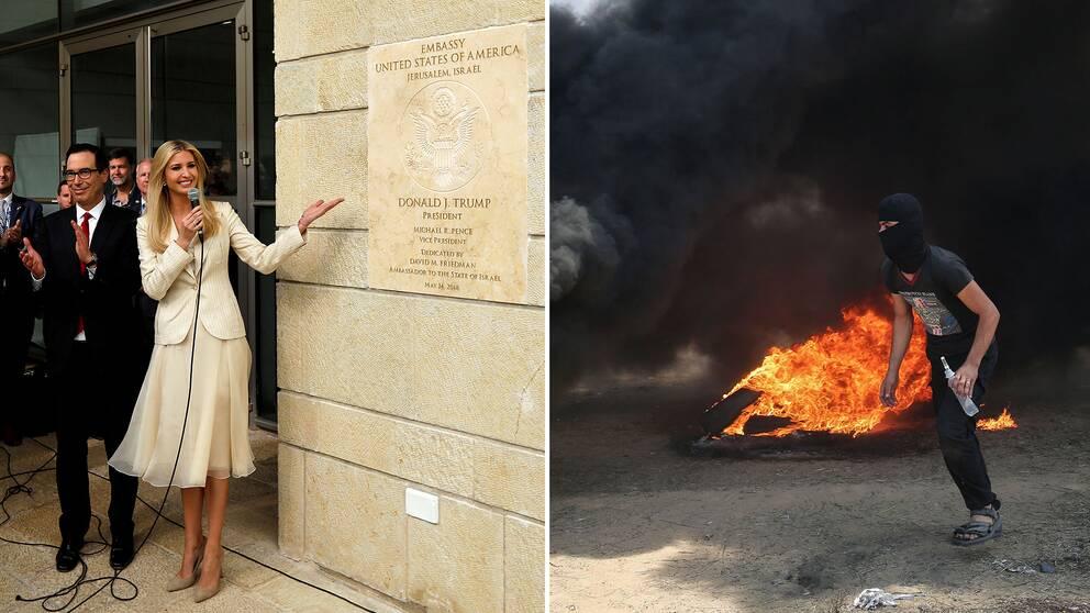 Ivanka Trump under invigningen av USA:s Jerusalemambassad. Samtidigt våldsamma sammandrabbningar vid gränsen till Gaza