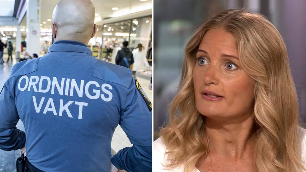 Bild på väktares rygg samt Greta Berg från Sveriges kommuner och landsting (SKL)