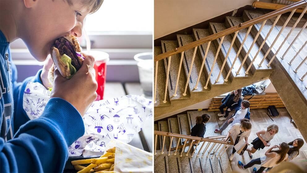 Barn som äter hamburgare och elever i en skolkorridor.