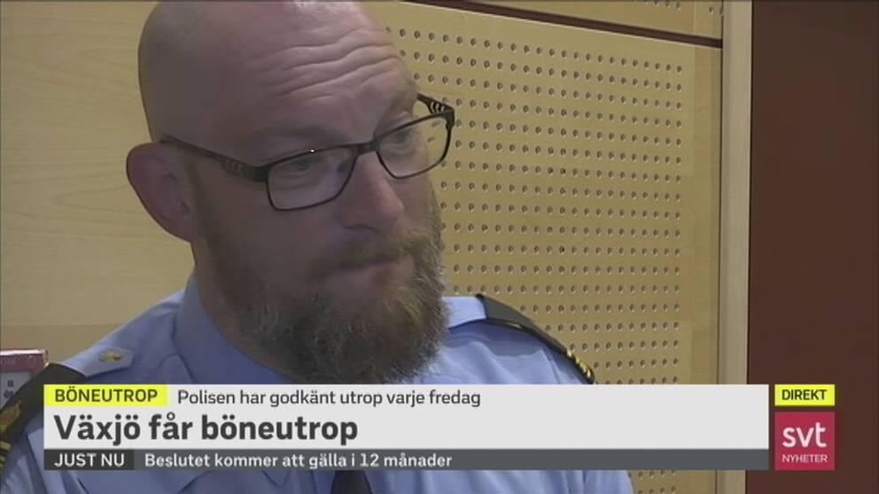 Polisens gruppchef Magnus Rothoff mötte starka reaktioner efter beslutet att säga ja till böneutrop i Växjö förra veckan.