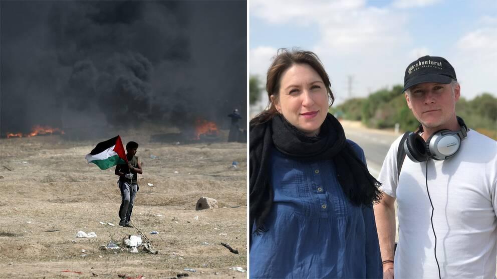 Bild från Gazaprotesterna, en pojke går med en palestinsk flagga samt bild på SVT:s team på plats – Marie Nordstrand utrikesreporter och fotograf Tomas Hallstan.