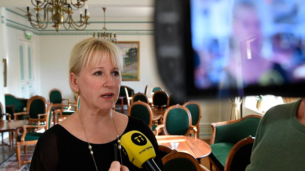 Utrikesminister Margot Wallström (S) blir intervjuad.