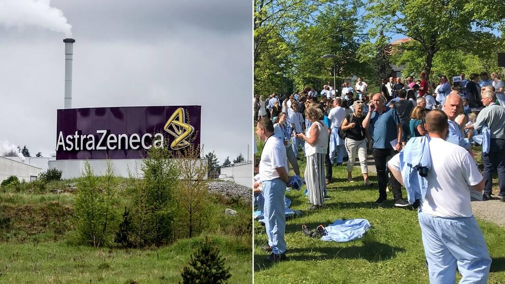 Delad bild: Astra Zeneca och en bild på anställda på företaget när de evakuerades under onsdagen.