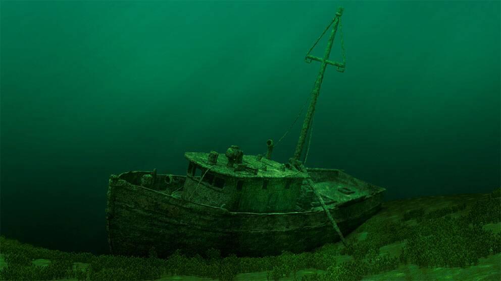 Bild från filmen Under Ytan, en undervattensexpedition som avslöjar Östersjöns hemligheter.  Under ytan är en domfilm som Visualiseringscenter har producerat tillsammans med sjöfartsverket.