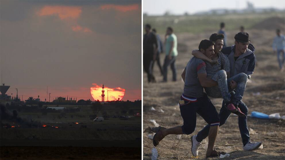 Solnedgång längs gränsen mellan Gazaremsan och Israel. Ambulanser och brinnande däck syns på bilden. Samt bild på två män som bär på en skadad man.