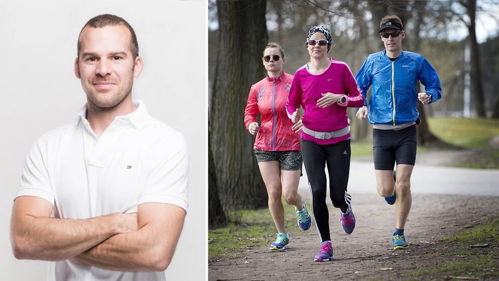 Jacob Guidol, samt tre personer som är ute på löptur i färgglada kläder.
