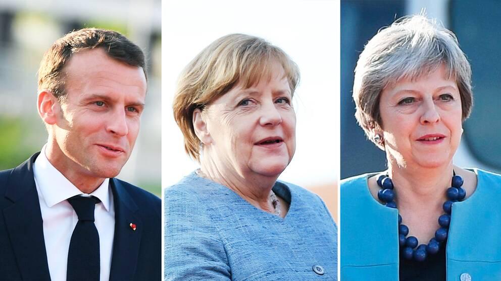 Macron, Merkel och May – ledarna för Frankrike, Tyskland och Storbritannien uppges vara överens om att hålla enad front i frågan om Iranavtalet.