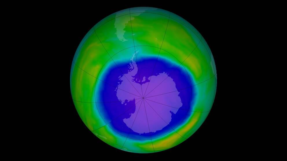 Ozonhålet över Antarktis syns här i mörkblå färg.