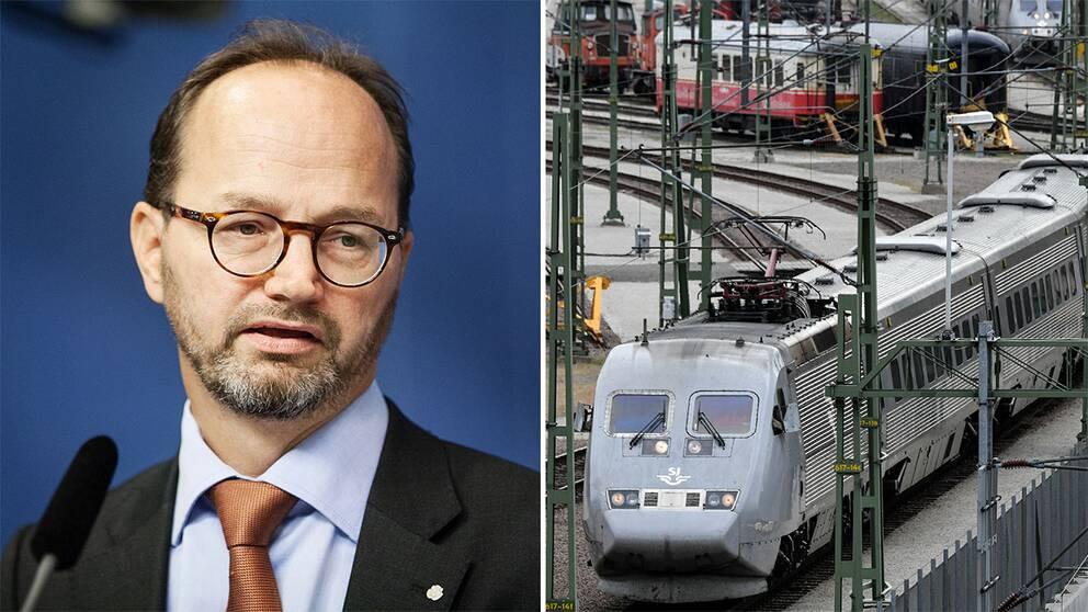 Infrastrukturminister Tomas Eneroth (S) och ett SJ-pendeltåg.