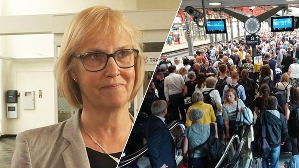 Trafikverkets generaldirektör Lena Erixon och folkmassa på perrong.