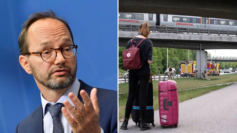 Vänster: Infrastrukturminister Thomas Eneroth (S) är kallad till trafikutskottet med anledning av tågkaoset. Höger: Räddningstjänsten fick bistå när ett stillastående Öresundståg skulle evakueras på torsdagen.