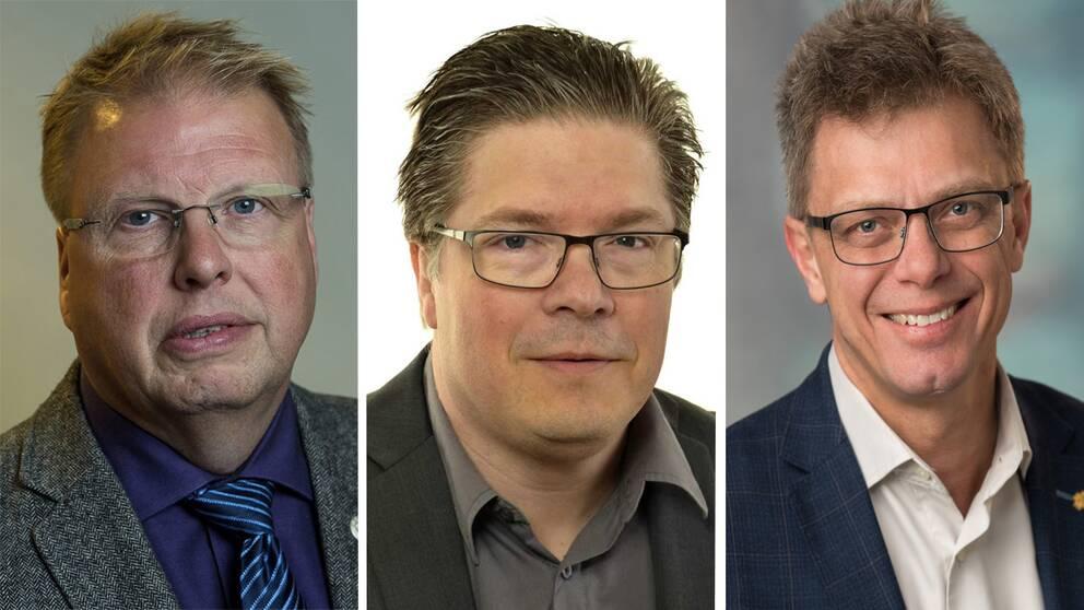 Riksdagsledamöterna Bengt Eliasson (L), Larry Söder (KD) och Ola Johansson (C).