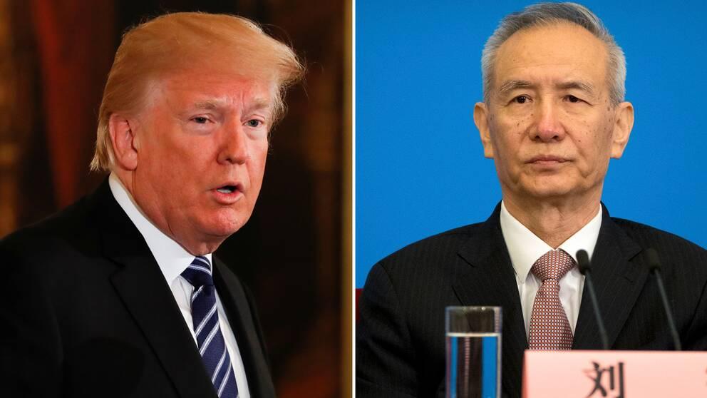 USA:s president Donald Trump och Kinas vice premiärminister Liu He.
