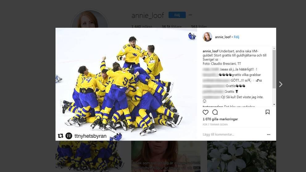 Annie Lööf gratulerar hockeyvinnarna i ett inlägg på Instagram.