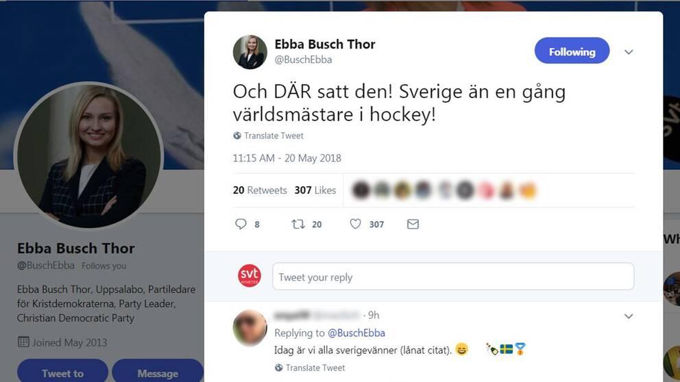 Sverie än en gång världsmästare i hockey, skriver Ebba Busch Thor på Twitter.