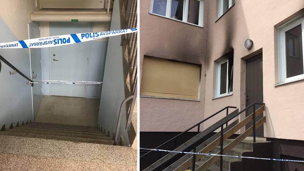 källartrappa med polisavspärrning och utsidan på brandskadat hus.