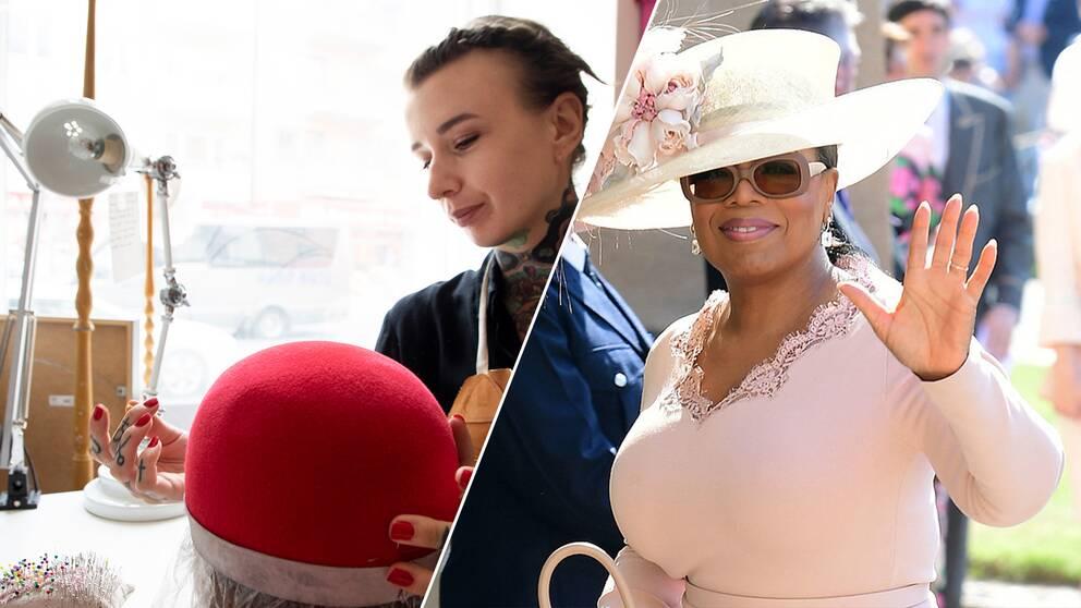 Modisten Hannah Schwartz i sin ateljé och Oprah Winfrey i hatt på brittiska prinsbröloppet.