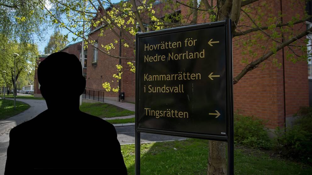 manssilhuett, vy med skylt vid entrén till Hovrätten i Sundsvall
