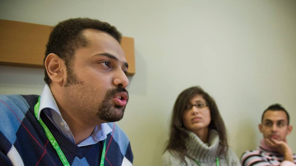 Egyptisk bloggare Wael Abbas tillsammans med andra opinionsbildare.